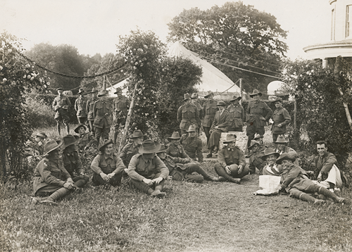 Australian soldiers in the YMCA rose garden at Sutton Veny