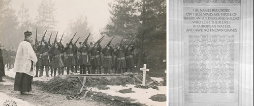 Funeral of Capt Howard Henry, Brookwood 14-2-1919 & Wall of the missing Brookwood Chapel
