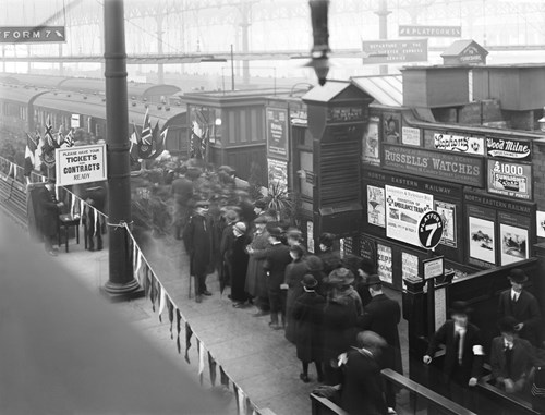 Queues of people waiting to see an ambulance train at Liverpool Station.