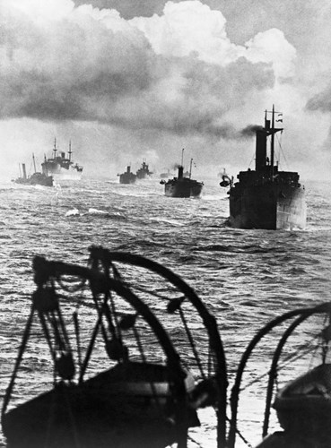 View from on board a collier of an East Coast Convoy